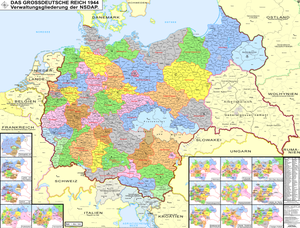 Gauliga - Map of Nazi Germany showing its administrative subdivisions, the Reichsgaue