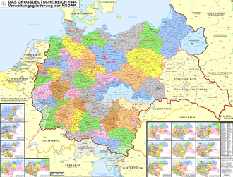 Pan-Germanism - Administrative division of Nazi Germany, following the annexing of Austria, Sudetenland and others to form the Greater German Reich as of 1944.