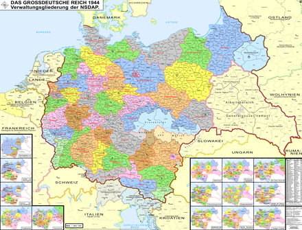Map of Nazi Germany showing its administrative subdivisions, the Gaue and Reichsgaue and annexed areas in 1944 NS administrative Gliederung 1944.png