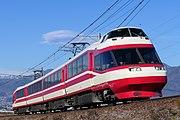 長野電鉄長野線の柳原 - 村山間を走行する1000系S1編成による特急「ゆけむり」