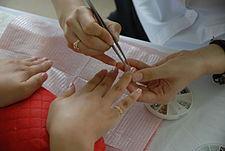 Manicure Underway In A Anese Salon