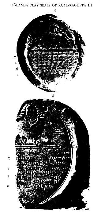 Kumaragupta III - Image: Nalanda clay seal of Kumaragupta III