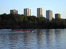 Apartment blocks photographed across the Erdre
