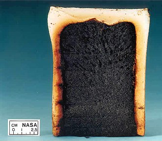 Smouldering - Polyurethane foam sample from the NASA smouldering experiments.