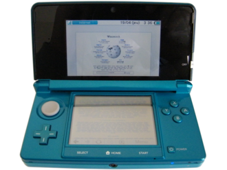 Internet Browser (Nintendo 3DS) - The Internet Browser showing the Wikipedia portal on a Nintendo 3DS console