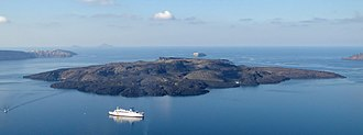 Lava dome - Nea Kameni seen from Thera, Santorini