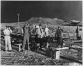 Nevada Test Site...Members of the party of 17 Canadian and United Kingdom observers at the 400-foot tower shot at... - NARA - 558598.tif