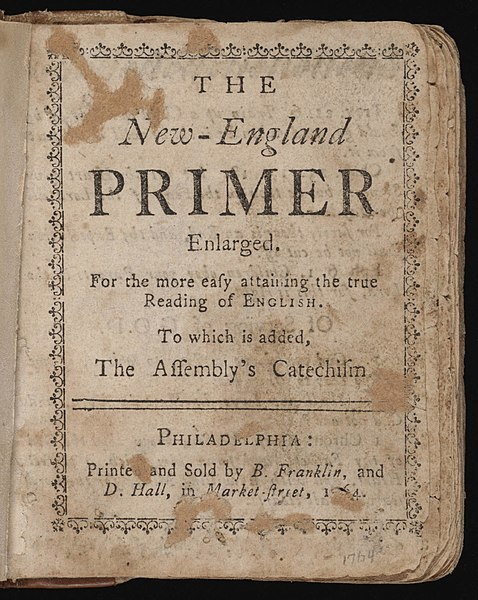 File:New-England Primer Enlarged printed and sold by Benjamin Franklin.jpg