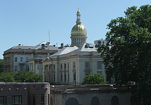 The New Jersey State House and its golden dome at Trenton in 2006.