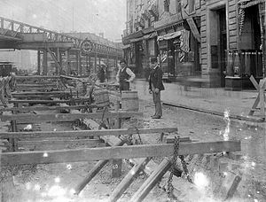 History of the New York City Subway - Subway construction in the Bowery, 1901
