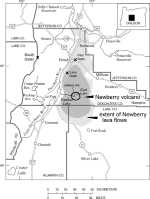 A map shows the extent of lava flows emanating from Newberry Volcano under the extent of the volcanic center itself