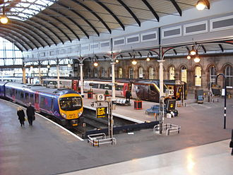 Newcastle railway station - First TransPennine Express, CrossCountry and First ScotRail trains at Newcastle in 2009