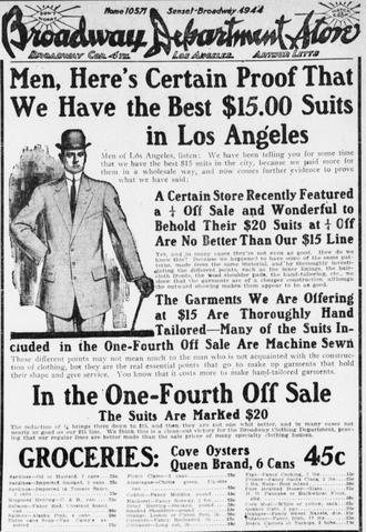 The Broadway - Broadway advertisement in December 1909