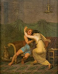 Catullus og Lesbia, der i hans arme søger trøst for hendes spurvs død