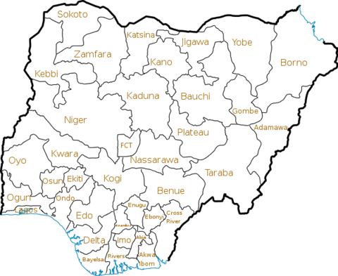 A map of the Federal Republic of Nigeria, showing its 36 states and 1 Federal Capital Territory Nigeria states.png