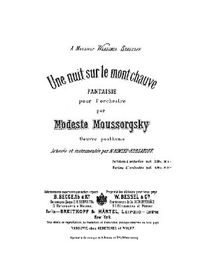 Night on Bald Mountain - Title page of Rimsky-Korsakov's edition, published by V. Bessel and Co.