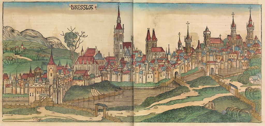 Dessin de Breslau en 1493 par Hartmann Schedel.