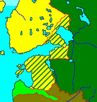 Treaty of Nystad - Treaty effects: pre-war Sweden in yellow, Russia in green, Russian gains indicated by lines.