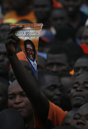 2007–08 Kenyan crisis - ODM supporters at a political rally during the crisis