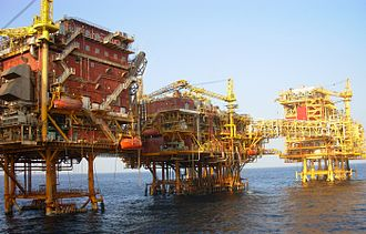 Energy policy of India - An ONGC platform at Bombay High in the Arabian Sea