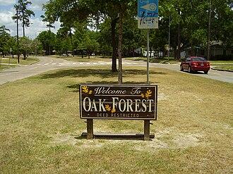 Oak Forest, Houston - Oak Forest marker