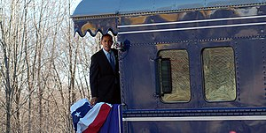 First inauguration of Barack Obama - Obama aboard the Georgia 300 on January 17, 2009
