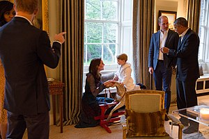 Prince George of Cambridge - George with his parents and US President Barack Obama, April 2016