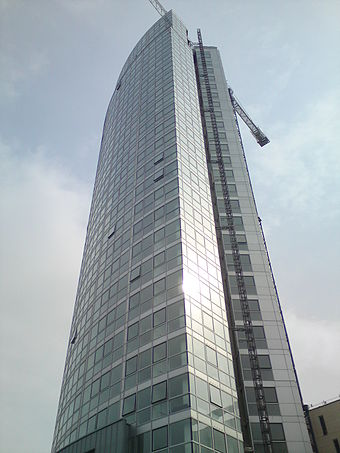Obel Tower is the tallest building in Belfast and Ireland. Obel Tower completed.jpg