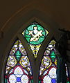Old Saint Patrick Catholic Church (Ann Arbor, MI) - interior, stained glass, detail, Sacred Heart, anchor, and Cross.jpg