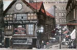 Shambles Square, Manchester - Old Shambles in its original location circa 1904
