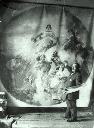 Eugenio Oliva - Eugenio Oliva with his mural at the Diputación de Palencia (1912)