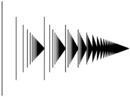 "A graphical ""matchstick"" representation of the ordinal ω². Each stick corresponds to an ordinal of the form ω·m+n where m and n are natural numbers."