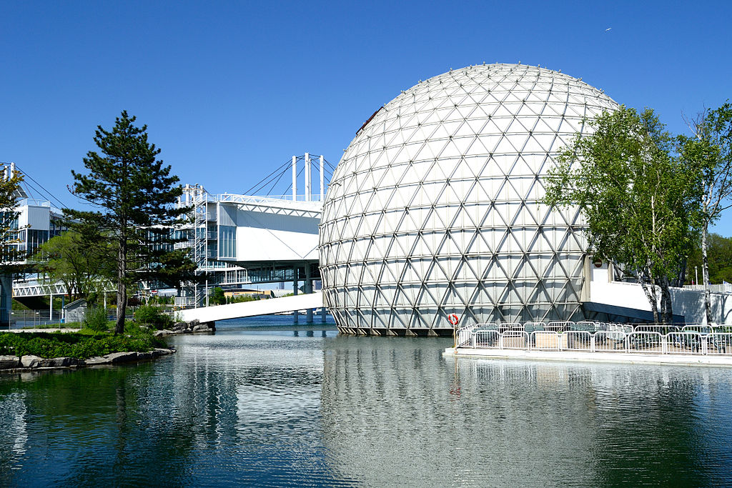 Ontario Place and the cinesphere on the harbor