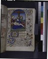 Opening of text and miniature of descent from Cross; large initial and full border (NYPL b12455533-425901).tif
