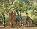 Oppler Blick auf eine Kirche mit Personenstaffage, ÖlLwMp., sign. u.l., 20x25 cm,.jpg