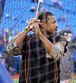 Orioles outfielder Adam Jones takes batting practice before the AL Wild Card Game. (30056431322).jpg