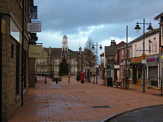 Ossett - Ossett town centre, showing the town hall building