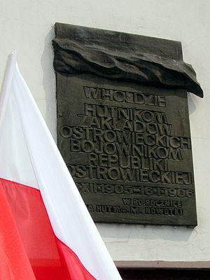 Revolution in the Kingdom of Poland (1905–07) - Memorial tablet in Ostrowiec Świętokrzyski to the 1905-1906 Ostrowiec Republic