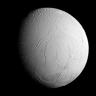 Enceladus natural satellite orbiting Saturn