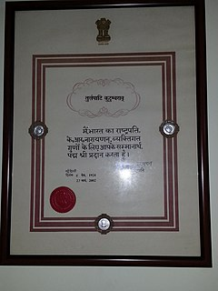 Padma Shri family of awards of the state of India
