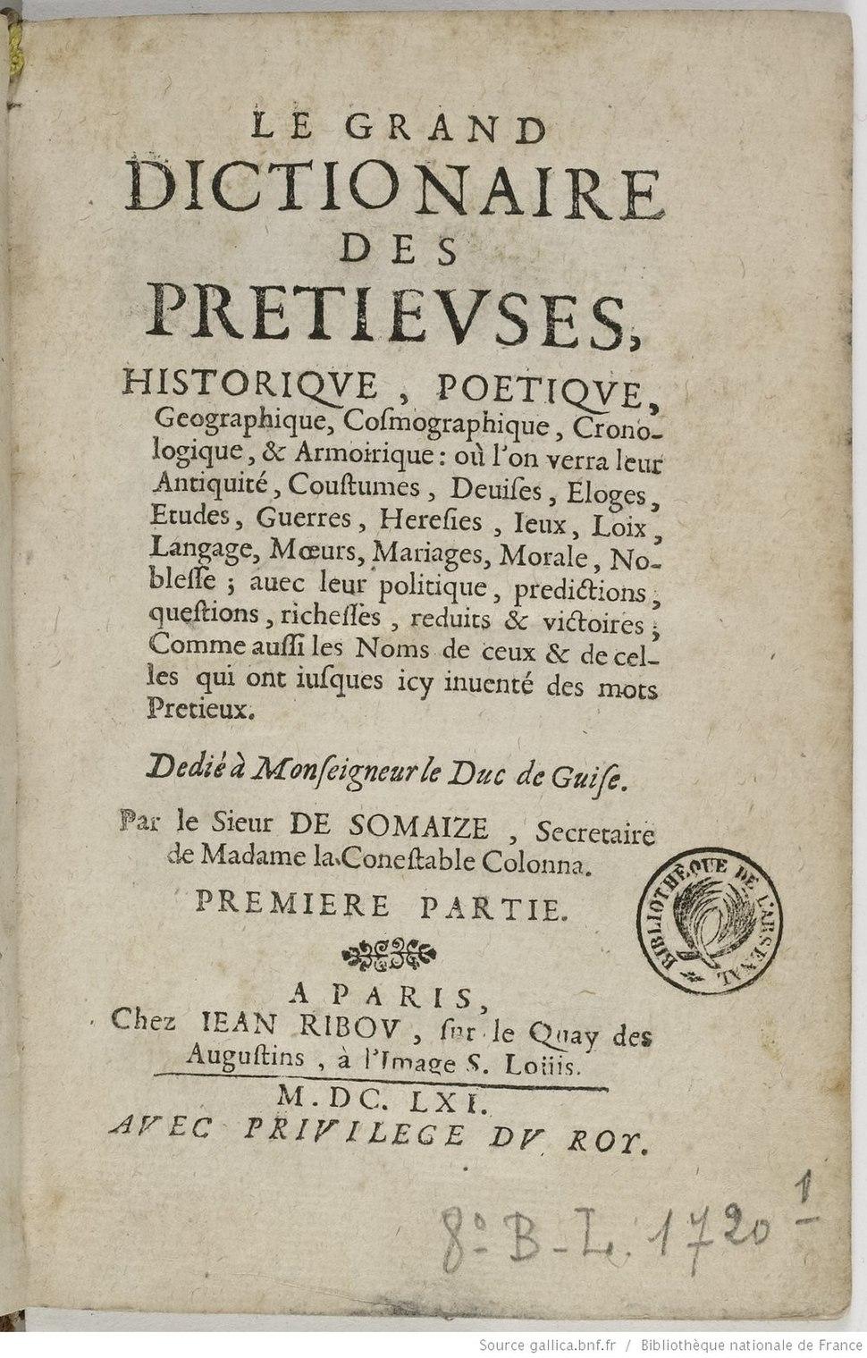 Page de titre du Grand Dictionnaire des précieuses, de Baudeau de Somaize