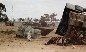 Libyan Army (1951–2011) - Palmaria heavy howitzers of the Libyan Army, destroyed by French airplanes close to the west-southern border of Benghazi, Libya, 19 March 2011