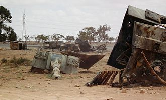 2011 military intervention in Libya - Palmarias of the Libyan Army, destroyed by French air force near Benghazi, 19 March