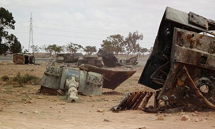 Libyan Army Palmaria howitzers destroyed by the French Air Force near Benghazi in March 2011 Palmaria bengasi 1903 0612 b1.jpg