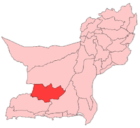 Map of Balochistan with Panjgur District highlighted