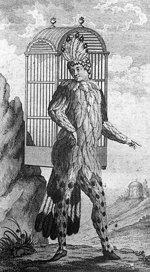 The Magic Flute - Emanuel Schikaneder, librettist of Die Zauberflöte, shown performing in the role of Papageno. The object on his back is a birdcage; see below.