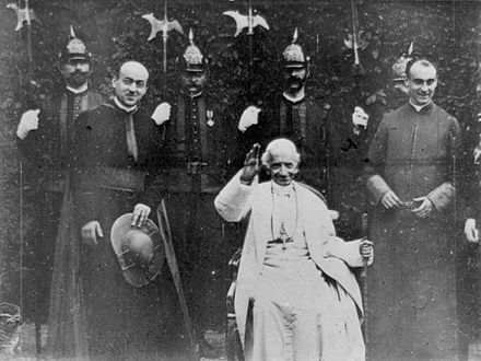 Pope Leo XIII issued the apostolic constitution Orientalium dignitas. Photogram of the 1896 film Sua Santita papa Leone XIII, the first time a Pope appeared on film. Papst Leo XIII 1898.jpg
