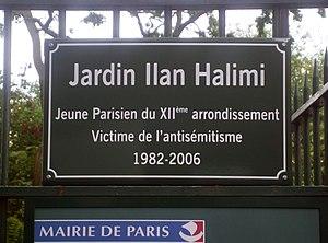 Killing of Ilan Halimi - Paris, Jardin Ilan Halimi, Sign