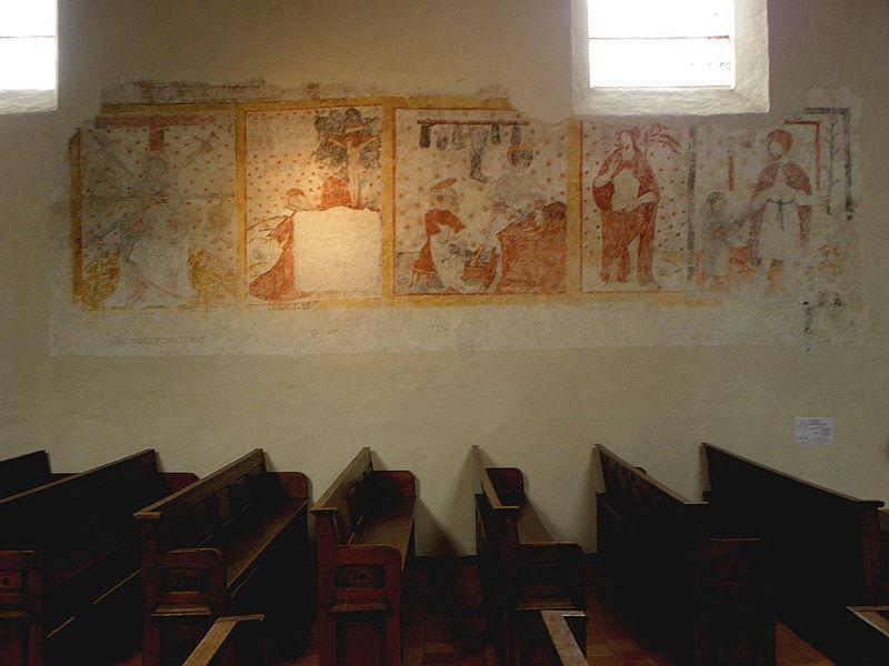 Peintures murales de l'église Saint-Pierre de Parné-sur-Roc (53). N.D. des sept douleurs, Saint-Jérôme, Saint-Crépin et Saint-Crépinien, Christ ressuscité, Saint-Joseph et l'Enfant Jésus.