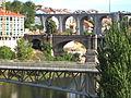 Pasarela del Vao-Pasarela do Vao, Puente Nuevo-Ponte Novo y el Viaducto. Ourense..JPG
